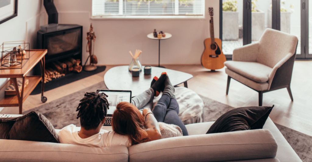 Couple in their cozy apartment