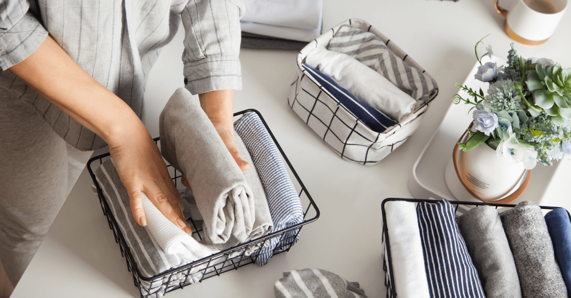 Woman organizing towels