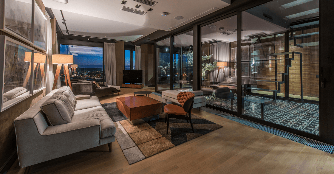 Interior of a penthouse apartment