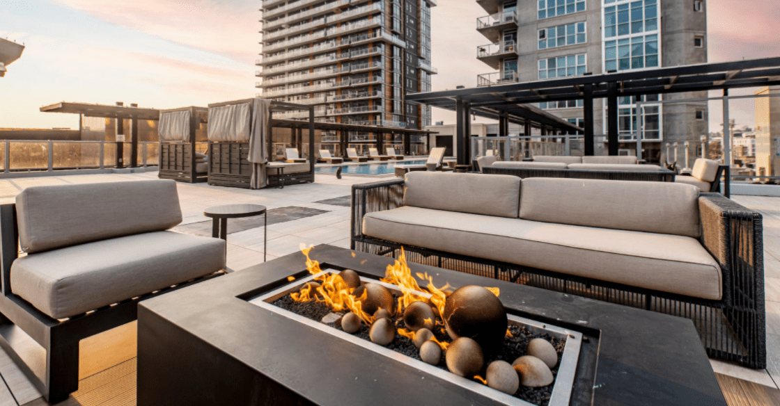 Rooftop firepits at Ariel apartments